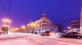 哈巴罗夫斯克,俄罗斯- 2017年1月14日:冬天城市视图 库存图片