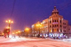 哈巴罗夫斯克,俄罗斯- 2017年1月14日:冬天城市视图 免版税库存图片
