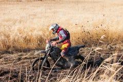 哈巴罗夫斯克,俄罗斯- 2016年10月23日:Enduro在fi的自行车车手 库存照片