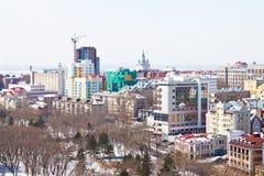 哈巴罗夫斯克,俄国。 都市风景 库存照片