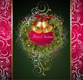响铃圣诞节花圈 免版税库存照片