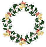 响铃圣诞节霍莉s花圈 免版税图库摄影