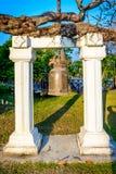 响铃在Wat Mahathat,盖废墟的历史公园 免版税图库摄影