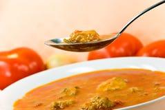 响铃多维数据集墩牛肉胡椒红色汤炖煮的食物 免版税库存照片