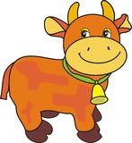 响铃母牛绿色可笑小的皮带 库存图片