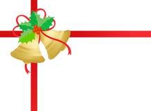 响铃金黄圣诞节的金子 库存照片