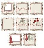 响铃&结构树圣诞节礼品标签 免版税库存照片