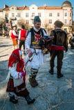 哑剧演员或Kukeri节日在拉兹洛格,保加利亚 免版税库存照片