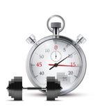 哑铃和秒表的传染媒介例证 免版税库存图片