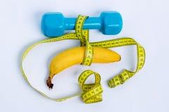 哑铃和香蕉 图库摄影