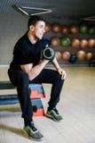 哑铃增强 与重量的体育运动15 kg 免版税库存照片