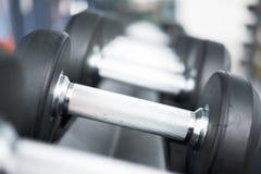 哑铃行在健身房的 在体育健身cen中设置的黑哑铃 库存照片