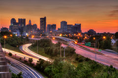 哥伦布俄亥俄都市风景黄昏的 免版税库存照片