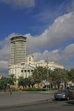 哥伦布塔最高的110米建筑在巴塞罗那和Sector Naval de Catalunya -政府buildin的中心 库存照片