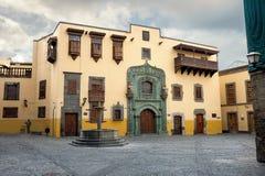 哥伦布议院在拉斯帕尔马斯 canaria gran西班牙 免版税库存照片