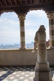 哥伦布雕象作为一个男孩的在Castello d ` Albertis一个历史住所在热那亚意大利 它安置世界文化博物馆, 免版税库存图片