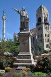 哥伦布雕象,拉克瓦纳县法院大楼,斯克兰顿,宾夕法尼亚 库存照片