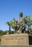 哥伦布马德拉岛雕象 免版税库存照片