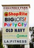 哥伦比亚公园中心零售标志 免版税库存照片