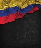 哥伦比亚在一个难看的东西黑色黑板的旗子葡萄酒有空间的Fo 免版税库存图片