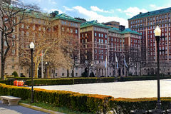 哥伦比亚大学校园在日落的纽约 库存照片