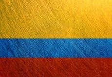 哥伦比亚旗子金属葡萄酒,减速火箭 免版税库存照片