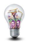 哥伦比亚比索电灯泡 库存图片