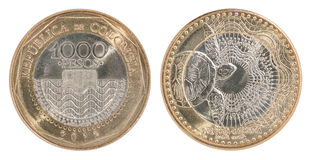 哥伦比亚比索硬币集合 免版税图库摄影