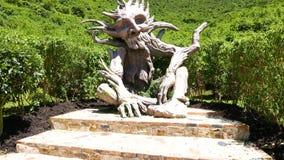 哥伦比亚波哥大分社杜克雕刻在生态道路的公园木头 股票视频