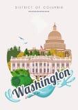 哥伦比亚特区传染媒介海报 美国旅行例证 美利坚合众国卡片 与大厦的华盛顿横幅 免版税库存照片