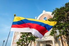 哥伦比亚的旗子在卡塔赫钠 免版税图库摄影