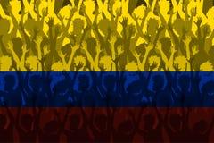 哥伦比亚的旗子在支持的爱好者的 免版税图库摄影