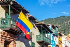 哥伦比亚的旗子在波哥大,哥伦比亚 库存照片