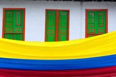 哥伦比亚的旗子视图 免版税库存图片