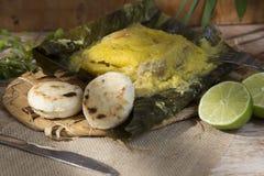 哥伦比亚的烹调玉米粽子浓郁的味道  免版税库存图片