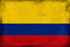 哥伦比亚背景葡萄酒国旗  库存图片