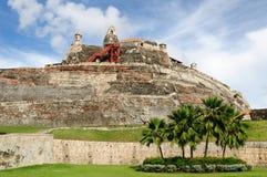 哥伦比亚,在城堡的视图在卡塔赫钠 免版税库存照片