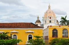 哥伦比亚,在老卡塔赫钠的视图 免版税库存图片