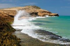 哥伦比亚,在La Guajira的Pilon de azucar海滩 免版税图库摄影