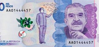 哥伦比亚50000比索2016年钞票特写镜头宏指令,哥伦比亚的星期一 库存图片
