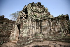 吴哥寺庙大厦, preah可汗,柬埔寨 免版税图库摄影