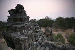 吴哥寺庙,柬埔寨晚上日落  库存照片