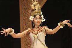 吴哥寺庙,柬埔寨晚上演示展示  免版税图库摄影