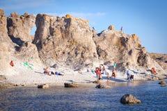 哥得兰岛的海岛在波罗的海 免版税库存照片