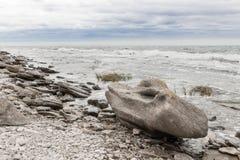 哥得兰岛,瑞典的岩石海岸线 免版税库存照片