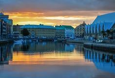 哥德堡在日落光的市建筑学 免版税库存照片