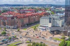哥德堡,瑞典- 2017年7月:Gothia耸立一清早, Gothia塔是斯堪的那维亚` s最大的旅馆,位于Gothenbur 库存图片