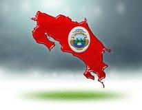 哥斯达黎加设计地图与足球场草纹理的  免版税库存图片