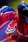 从哥斯达黎加的少妇舞蹈家传统服装的 免版税库存照片