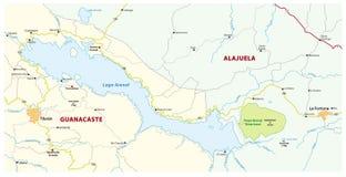 哥斯达黎加的湖阿雷纳尔的环境的行政和政治地图 免版税库存图片